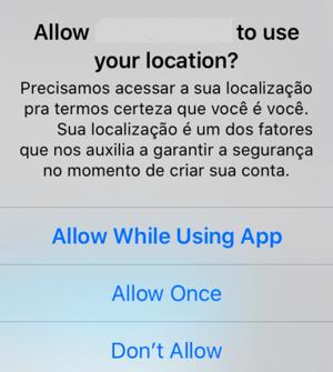 Pedindo localização explicitando que uso será contra fraude